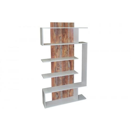 Βιβλιοθήκη – ραφιέρα MDF 90Χ21,5Χ172 εκ. λευκό – καφέ