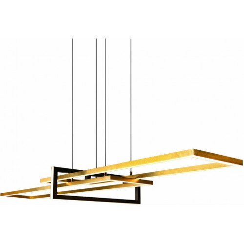 Φωτιστικό κρεμαστό led BRASS & BLACK METAL 100cm 4200lm Step Dimming